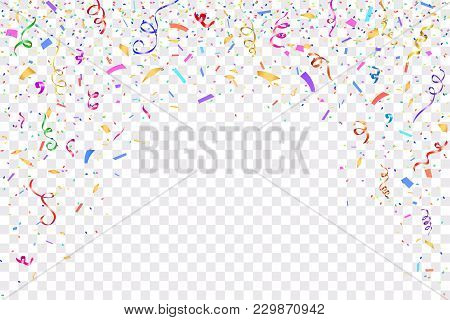 Festive Design. Border Of Colorful Bright Confetti Isolated On Transparent Background. Party Decorat