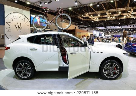 Dubai, Uae - November 18: The Maserati Levante Car Is On Dubai Motor Show 2017 On November 18, 2017