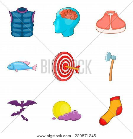 Catch Icons Set. Cartoon Set Of 9 Catch Vector Icons For Web Isolated On White Background