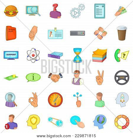 Business Partner Icons Set. Cartoon Set Of 36 Business Partner Vector Icons For Web Isolated On Whit