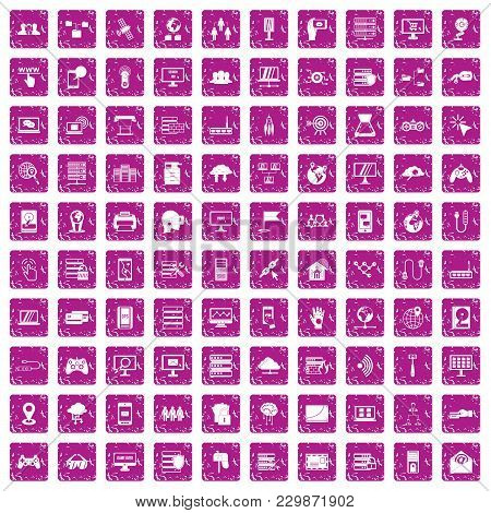 100 Network Icons Set In Grunge Style Pink Color Isolated On White Background Vector Illustration