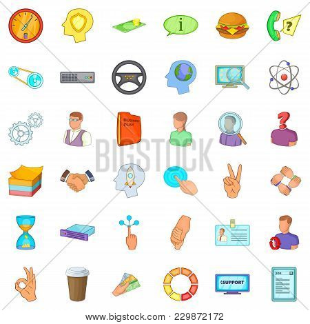 Business Environment Icons Set. Cartoon Set Of 36 Business Environment Vector Icons For Web Isolated