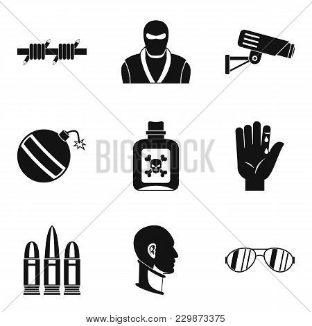 Criminal Violence Icons Set. Simple Set Of 9 Criminal Violence Vector Icons For Web Isolated On Whit