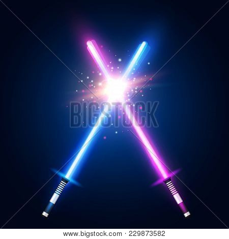 Purple And Blue Crossed Light Neon Swords With Trembling Blades Fight. Laser Sabers War. Glowing Ray