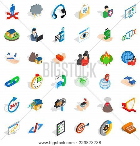 Commercial Strategy Icons Set. Isometric Set Of 36 Commercial Strategy Vector Icons For Web Isolated