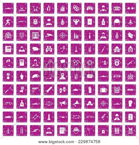 100 Officer Icons Set In Grunge Style Pink Color Isolated On White Background Vector Illustration