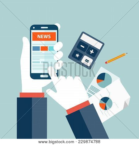 Stock Market News Concept. On Line Market News. Newsletter And Information. Business And Market News