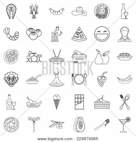 Exhibitor Icons Set. Outline Set Of 36 Exhibitor Vector Icons For Web Isolated On White Background