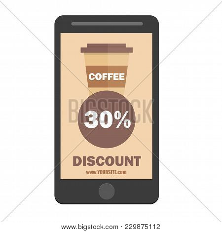 Smartphone Coffee Cup Discount Icon. Coffee Cup Icon. Flat Design Style. Coffee Paper Cup Silhouette