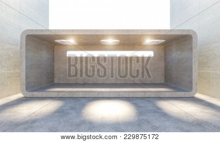 modern concrete abstract architecture background 3d rendering image