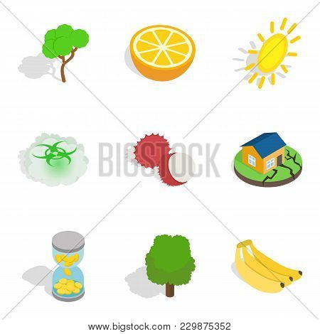Natural Recovery Icons Set. Isometric Set Of 9 Natural Recovery Vector Icons For Web Isolated On Whi
