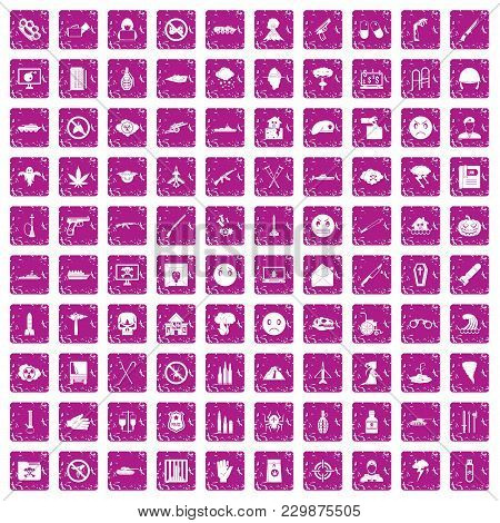 100 Oppression Icons Set In Grunge Style Pink Color Isolated On White Background Vector Illustration