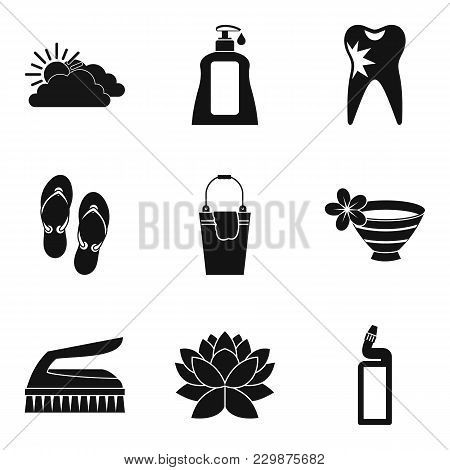 Hygienic Procedure Icons Set. Simple Set Of 9 Hygienic Procedure Vector Icons For Web Isolated On Wh