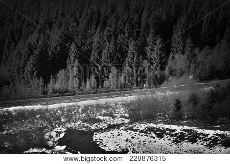 Czech Route 7 Leading To Germany In Winter Ore Mountain With Dream Black And White Stylization