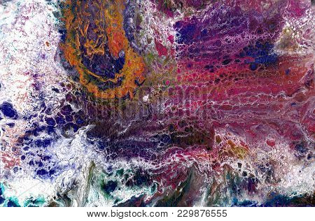 Abstract Art Acrylic Pour Picture Photo. Good For Background Texture Surface Print Design And Your A