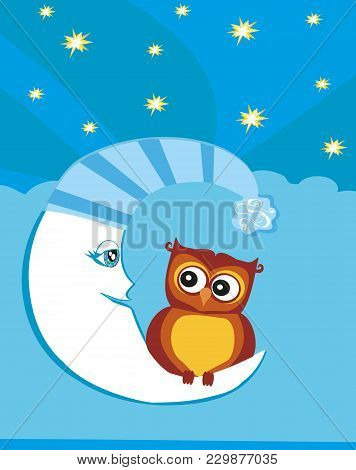 Cute Owl And Moon At Night , Vector Illustration