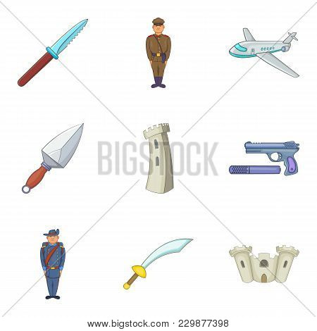 Act Of Aggression Icons Set. Cartoon Set Of 9 Act Of Aggression Vector Icons For Web Isolated On Whi