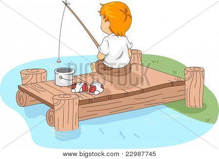 Illustration of a Kid Fishing