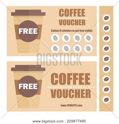 A Gift Coffee Voucher Or Discount Coupon. Vector Flat Voucher Template. Promotion Coupons With Stick