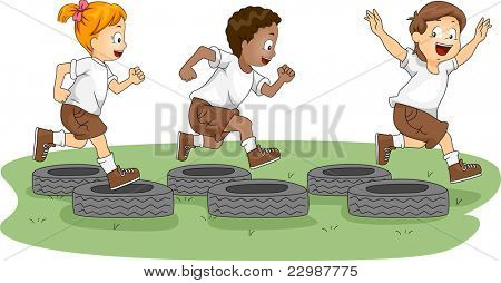Illustration of Kids in an Obstacle Course