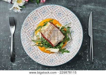 Pike-perch With Carrot Puree And Fennel. Fried Perch Fillet With Vegetable Puree. Dietary Menu. Fish