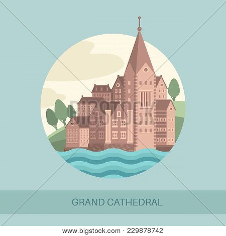 Grand Cathedral Side View Or Screen Of Memorial Architecture. Panorama Of Stone Estate Or Royal Buil