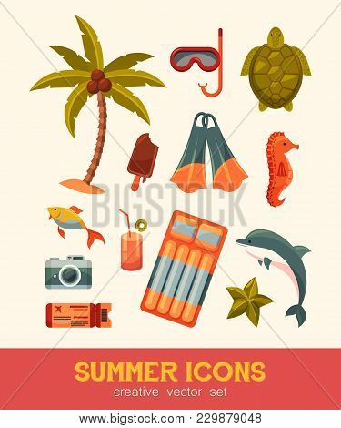Summer And Sea Elements Isolated On Background. Summertime Collection Of Nautical And Swimming Icons