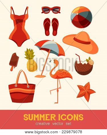 Summer And Sea Elements Isolated On Background. Summertime Collection Of Nautical Or Beach Icons For
