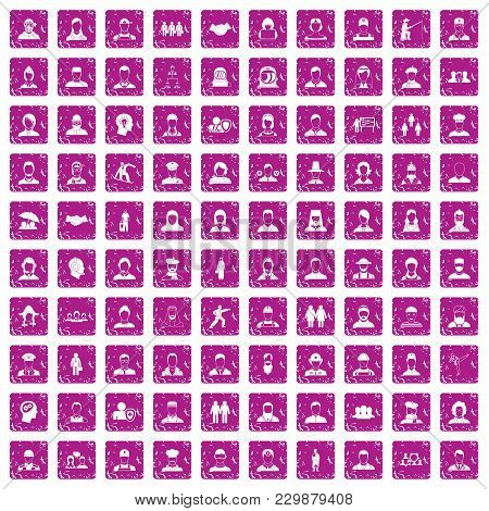 100 People Icons Set In Grunge Style Pink Color Isolated On White Background Vector Illustration