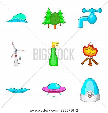 Water Conditions Icons Set. Cartoon Set Of 9 Water Conditions Vector Icons For Web Isolated On White