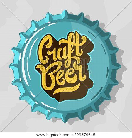 Craft Beer Script Lettering Logo  With Top View Beer Bottle Cap. Vector Graphic.