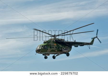Tyumen, Russia - June 23, 2017: Army Games. Engineering Formula Contest. Military Helicopter Mi-8 In