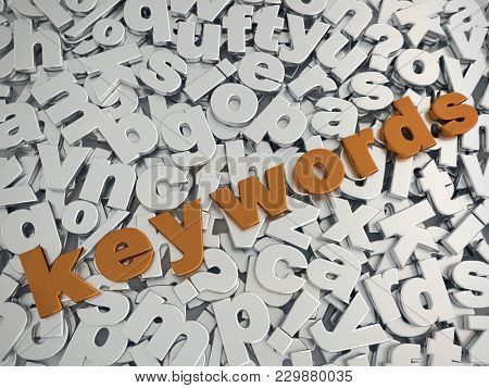 3D rendering of KEYWORDS word in metallic copper color on pile of gray metallic alphabet fonts