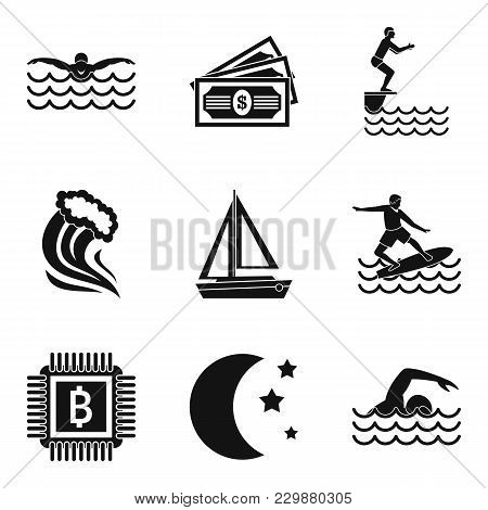 Aquatic Sport Icons Set. Simple Set Of 9 Aquatic Sport Vector Icons For Web Isolated On White Backgr