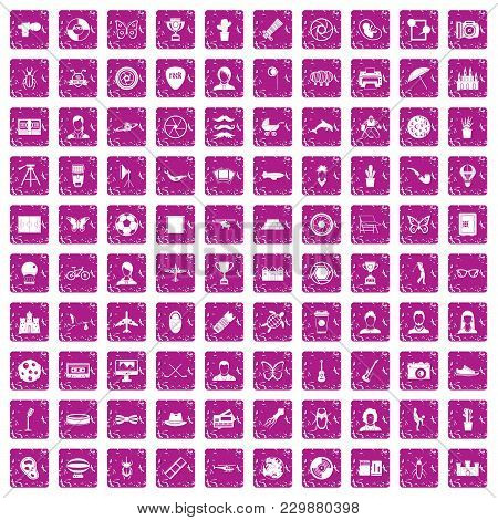 100 Photo Icons Set In Grunge Style Pink Color Isolated On White Background Vector Illustration