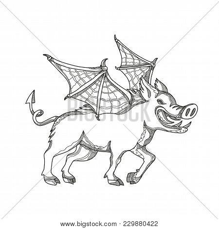 Doodle Art Illustration Of A Winged Wild Boar, Swine, Pig ,wild Swine Eurasian Wild Pig, Hog Or Sus