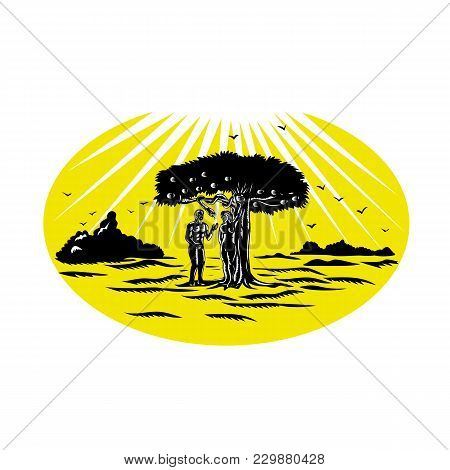 Retro Woodcut Style Illustration Of Adam And Eve Standing By Apple Tree Being Tempted By A Serpent T