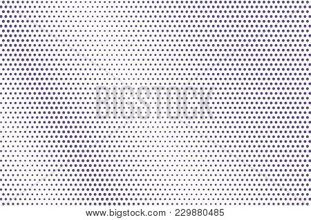 Violet White Dotted Halftone. Regular Faded Dotted Gradient. Half Tone Vector Background. Abstract F