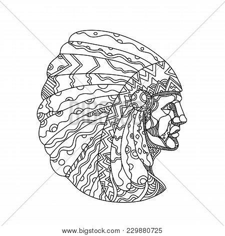 Doodle Art Illustration Of A Native American, American Indian, Indian Or Indigenous American, The In