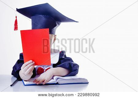 Portrait Of Serious Child Girl Judge (lawyer) With Red Card As Symbol Of Disqualification For Violat