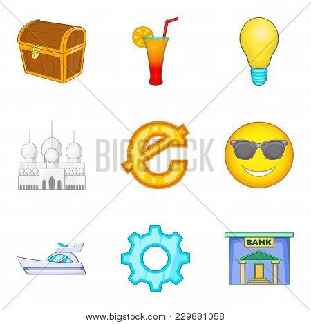 Material Prosperity Icons Set. Cartoon Set Of 9 Material Prosperity Vector Icons For Web Isolated On