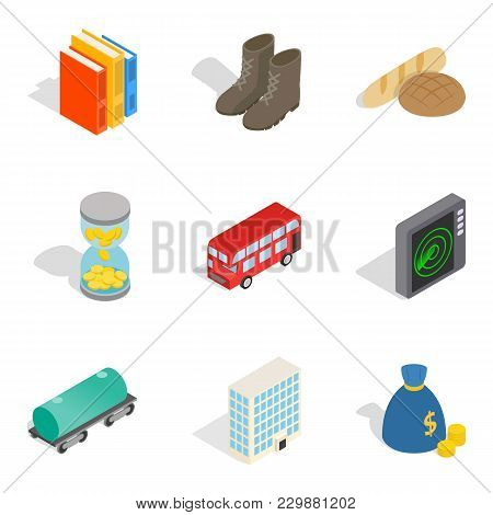Material Icons Set. Isometric Set Of 9 Material Vector Icons For Web Isolated On White Background