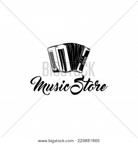 Hand Drawn Classic Accordion. Vintage Musical Instrument. Music Store Logo Label Badge. Music Symbol