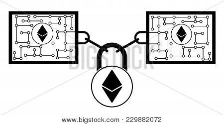 Ethereum Block Chain Technology Icon,vector Disign,disign Concept On A White Background ,interlockin