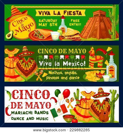 Cinco De Mayo Mexican Holiday Fiesta Celebration Banners Or Party Inivtaion Cards. Vector Traditiona