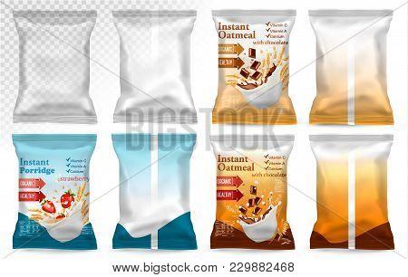Polypropylene Plastic Packaging - Instant Porridge Advert Concept. Desing Template. Vector Illustrat