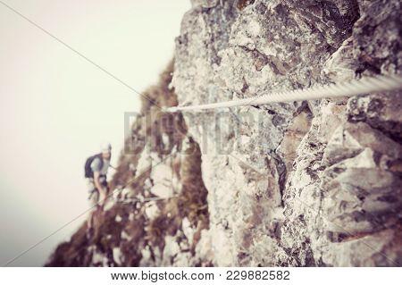 Via Ferrata In Mountains, Symbol Mountain Climbing, Rock Climber, Climber In Summer, Via Ferrata, Ro