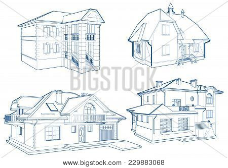 Residential Family Houses Building Vector Illustration Isolated On White
