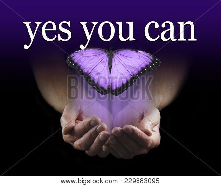 Your Mentor Says Yes You Can - Male Cupped Hands Emerging From Black Background With A Large Purple