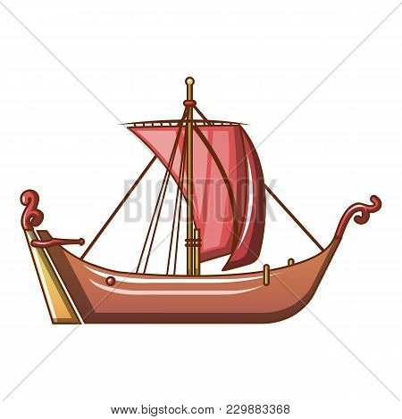 Pirate Ship Icon. Cartoon Illustration Of Pirate Ship Vector Icon For Web
